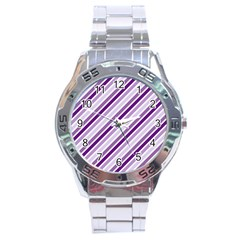 Violet Stripes Stainless Steel Analogue Watch by snowwhitegirl