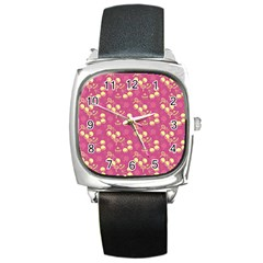 Yellow Pink Cherries Square Metal Watch by snowwhitegirl