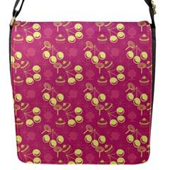 Yellow Pink Cherries Flap Messenger Bag (s) by snowwhitegirl