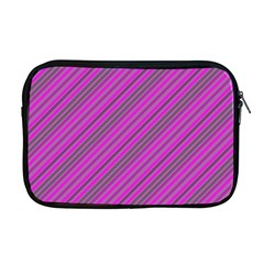 Pink Violet Diagonal Lines Apple Macbook Pro 17  Zipper Case by snowwhitegirl