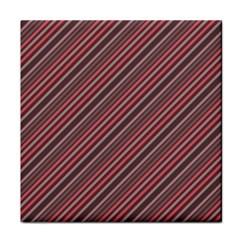 Brownish Diagonal Lines Tile Coasters