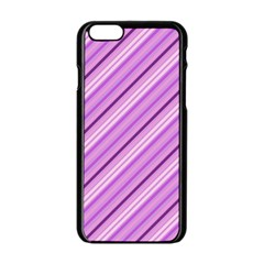 Violet Diagonal Lines Apple Iphone 6/6s Black Enamel Case by snowwhitegirl