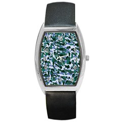 Blue Camo Barrel Style Metal Watch by snowwhitegirl