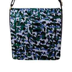 Blue Camo Flap Messenger Bag (l)  by snowwhitegirl