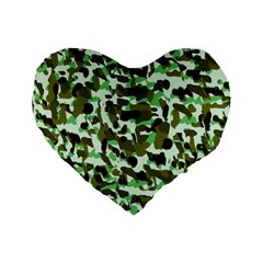 Brownish Green Camo Standard 16  Premium Flano Heart Shape Cushions by snowwhitegirl