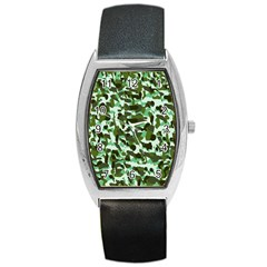 Green Camo Barrel Style Metal Watch by snowwhitegirl