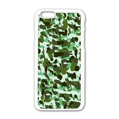 Green Camo Apple Iphone 6/6s White Enamel Case by snowwhitegirl