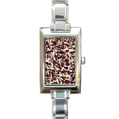 Red Camo Rectangle Italian Charm Watch by snowwhitegirl