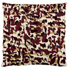 Red Camo Large Flano Cushion Case (one Side) by snowwhitegirl