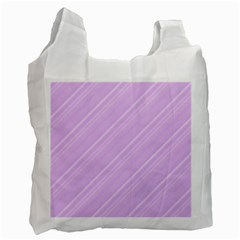 Lilac Diagonal Lines Recycle Bag (one Side) by snowwhitegirl