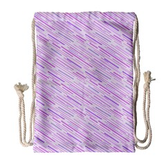 Silly Stripes Lilac Drawstring Bag (large) by snowwhitegirl