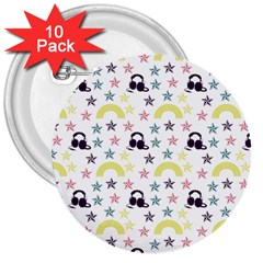 Music Stars 3  Buttons (10 Pack)