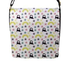 Music Stars Flap Messenger Bag (l)  by snowwhitegirl