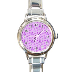 Purple Dress Round Italian Charm Watch by snowwhitegirl