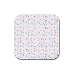 Pink Hats Rubber Coaster (square)  by snowwhitegirl