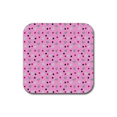 Pink Milk Hearts Rubber Square Coaster (4 Pack)  by snowwhitegirl