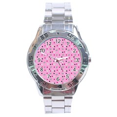 Pink Milk Hearts Stainless Steel Analogue Watch by snowwhitegirl