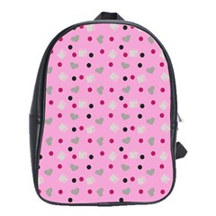 Pink Milk Hearts School Bag (xl) by snowwhitegirl