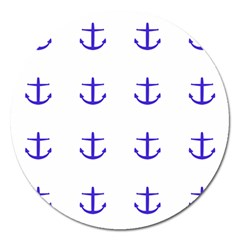Royal Anchors On White Magnet 5  (round) by snowwhitegirl