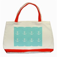 Aqua Anchor Classic Tote Bag (red) by snowwhitegirl