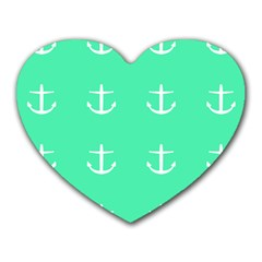 Seafoam Anchors Heart Mousepads by snowwhitegirl