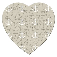 Lt Grey Anchors Jigsaw Puzzle (heart) by snowwhitegirl