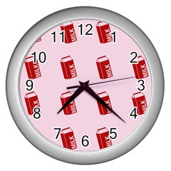 Strawberry Milk Wall Clocks (silver)  by snowwhitegirl