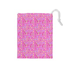 Pink Heart Drops Drawstring Pouches (medium)  by snowwhitegirl