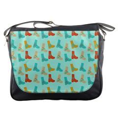 Blue Orange Boots Messenger Bags by snowwhitegirl