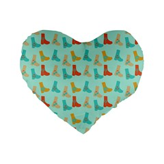 Blue Orange Boots Standard 16  Premium Flano Heart Shape Cushions by snowwhitegirl