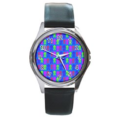 Neon Robot Round Metal Watch by snowwhitegirl