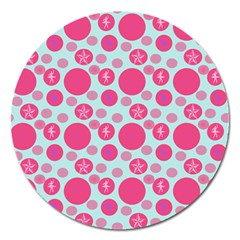 Blue Retro Dots Magnet 5  (round) by snowwhitegirl