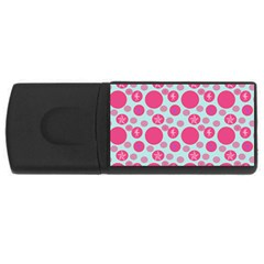 Blue Retro Dots Rectangular Usb Flash Drive by snowwhitegirl