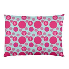 Blue Retro Dots Pillow Case (two Sides) by snowwhitegirl