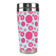 Blue Retro Dots Stainless Steel Travel Tumblers by snowwhitegirl