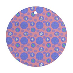 Pink Retro Dots Round Ornament (two Sides) by snowwhitegirl