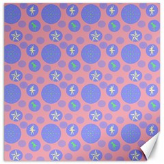 Pink Retro Dots Canvas 16  X 16   by snowwhitegirl