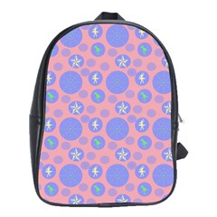 Pink Retro Dots School Bag (large) by snowwhitegirl
