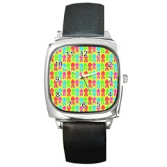 Colorful Robots Square Metal Watch by snowwhitegirl