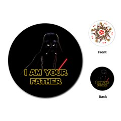 Darth Vader Cat Playing Cards (round)  by Valentinaart