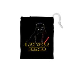 Darth Vader Cat Drawstring Pouches (small)  by Valentinaart