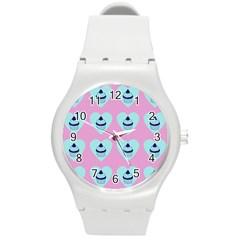 Cupcakes In Pink Round Plastic Sport Watch (m) by snowwhitegirl