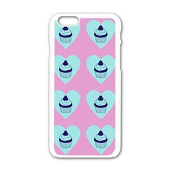Cupcakes In Pink Apple Iphone 6/6s White Enamel Case by snowwhitegirl