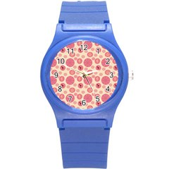 Cream Retro Dots Round Plastic Sport Watch (s) by snowwhitegirl