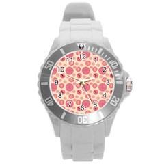 Cream Retro Dots Round Plastic Sport Watch (l) by snowwhitegirl