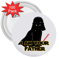 Darth Vader Cat 3  Buttons (100 Pack)  by Valentinaart