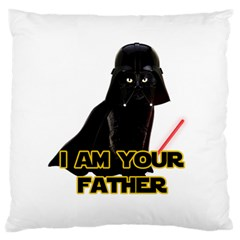 Darth Vader Cat Large Flano Cushion Case (two Sides) by Valentinaart