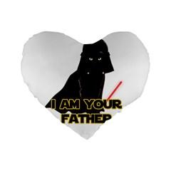 Darth Vader Cat Standard 16  Premium Flano Heart Shape Cushions by Valentinaart