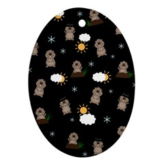 Groundhog Day Pattern Oval Ornament (two Sides) by Valentinaart