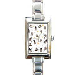 Groundhog Day Pattern Rectangle Italian Charm Watch by Valentinaart